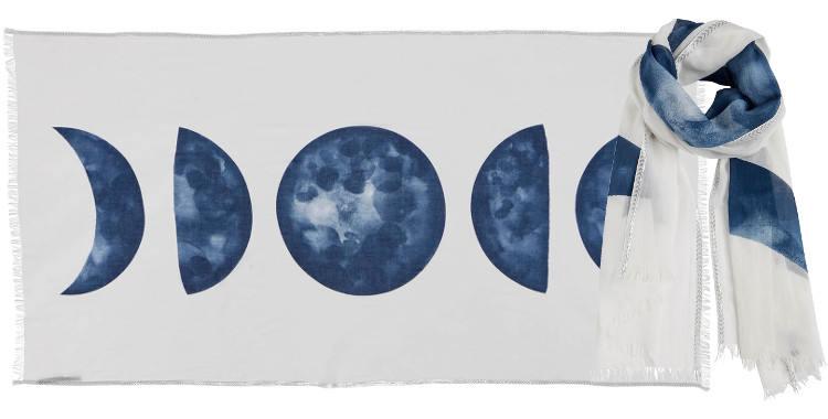 Foulards l'éclipse de lune Inouitoosh été 2018 blanc et bleu