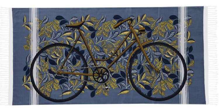 Fouta la bicyclette et les feuilles, coton imprimé Inouitoosh 2018 bleu