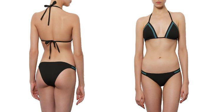 Maillot deux pièces triangle coulissant culotte fine stripes noir