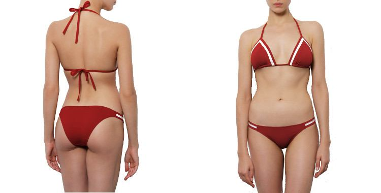 Maillot Deux pièces triangle culotte fine rouge rayures blanches