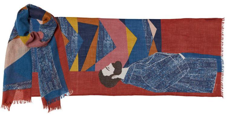 foulard en laine et soie le visiteur et l'expo d'oeuvre d'art