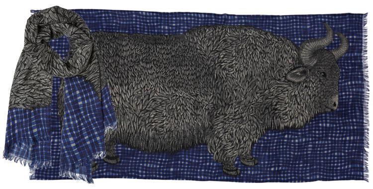 foulard étole écharpes en laine inouitoosh 2018 les carreaux et le bison