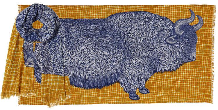 foulard écharpe étole en laine inouitoosh 2018 bison et carreaux