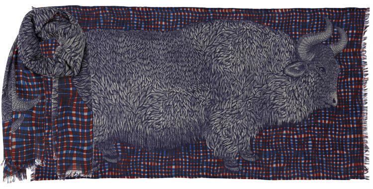foulards écharpes étoles en laine inouitoosh 2018 le bison aux carreaux