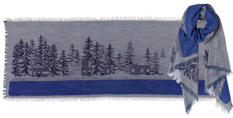 foulard inouitoosh 2018, en laine, les sapins et les cabanes sous la neige