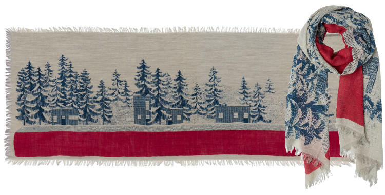 foulards en laine inouitoosh 2018 cabanes et sapins sous la neige