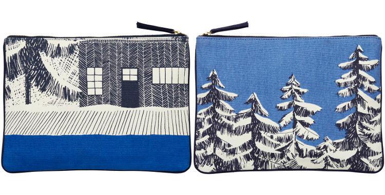 pochette en coton, les cabanes en forêt de sapins sous la neige, Inouitoosh 2018