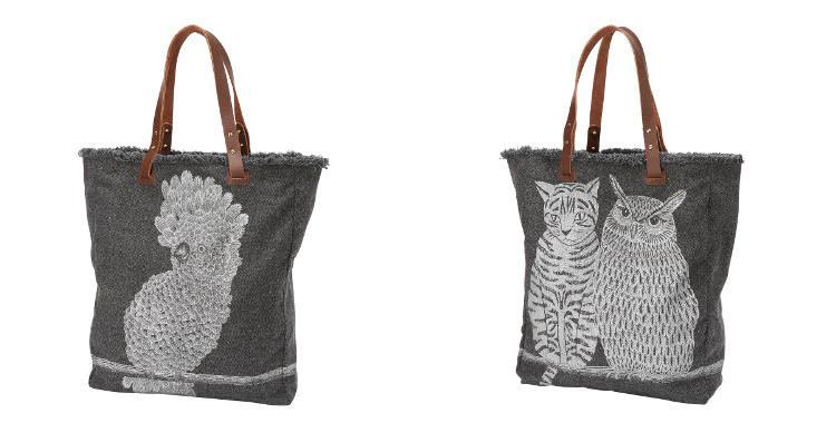 sac en laine imprimé, le cacatoes, le chouette et le chat, Inouitoosh 2018