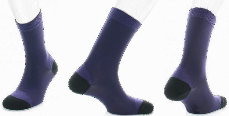 chaussette en soie Berthe au grands pieds collection hiver 2018 bleu, talon et pointe noirs