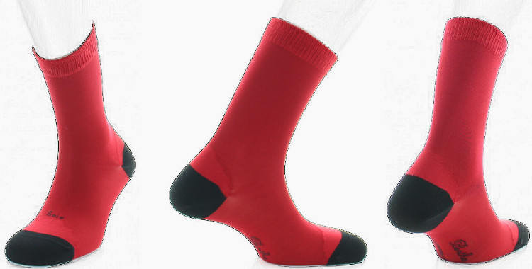 chaussette en soie Berthe au grands pieds collection hiver 2018 rouge, talon et pointe noirs