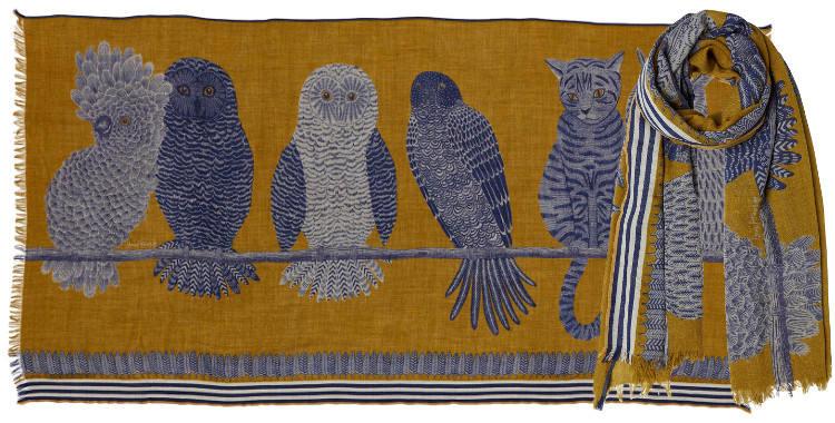 foulard écharpe étole laine inouitoosh 2018 oiseaux chat