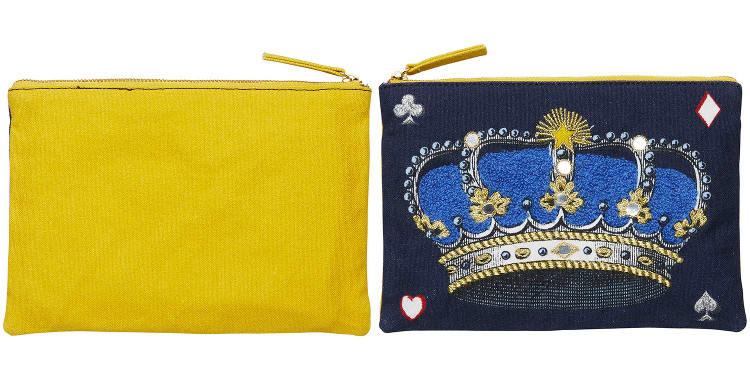 pochette en coton imprimée et brodée, la couronne, Inouitoosh 2018