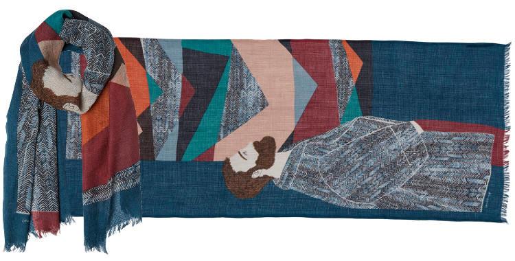 foulard écharpe étole laine et soie l'exposition d'oeuvre d'art et le visiteur