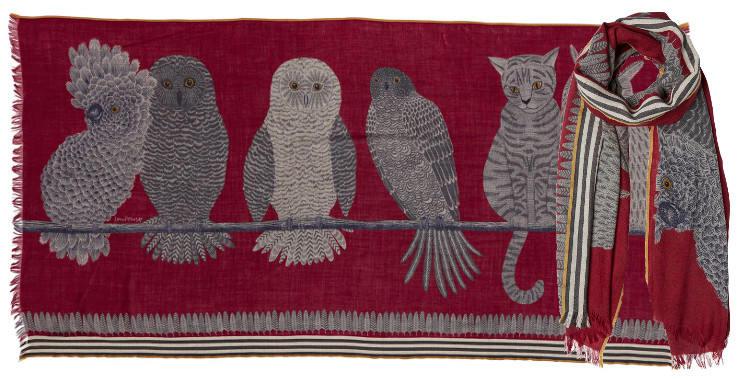 foulards, étole écharpe en laine inouitoosh chouettes, cacatoes, faucon, chat
