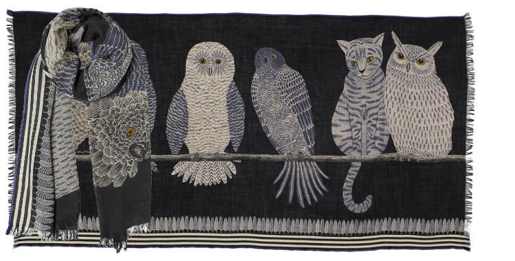 foulards écharpes étoles en laine inouitoosh 2018 chouettes oiseaux chats