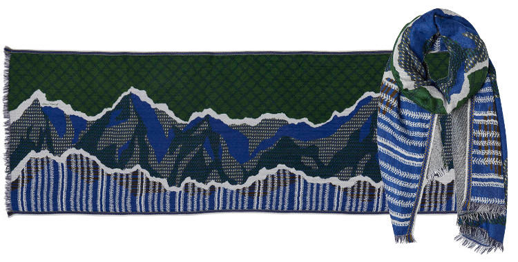 foulard en laine et viscose imprimé graphique d'un paysage de montagne