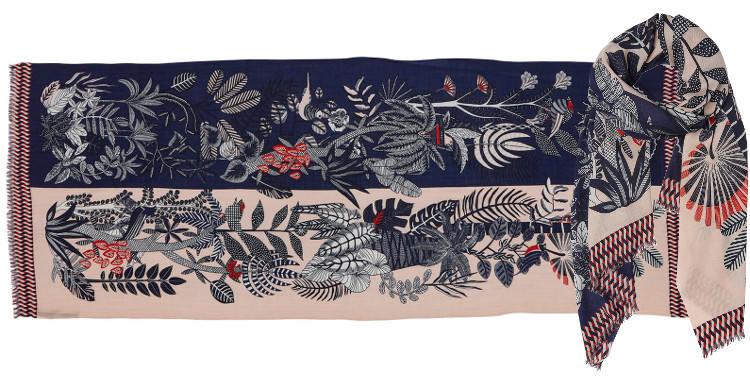 foulard écharpe étole en laine et cachemire à motifs de fleurs et de plantes