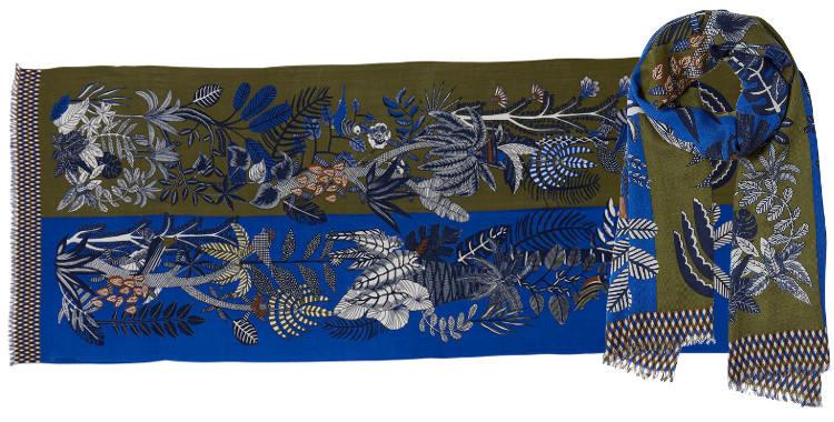 foulard écharpe étole en laine et cashmere motifs de fleurs et de plantes