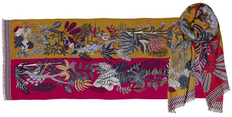 foulard écharpe étole en laine et cashmere à motifs floraux et végétaux