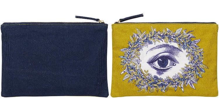 pochette en coton, imprimée et brodée, l'oeil, Inouitoosh 2018