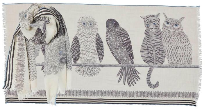foulard écharpe étole laine 2018 inouitoosh faucon chat hibou