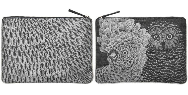 pochette en laine et polyester, Chouette, Inouitoosh 2018, coloris argent