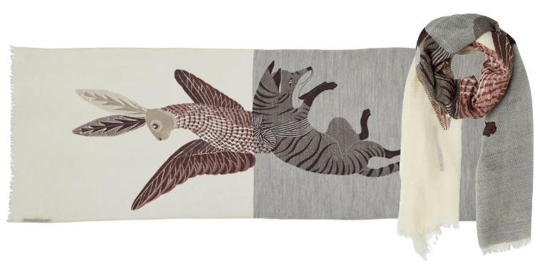 foulard écharpe étole en laine inouitoosh le renard et le lapin ailé