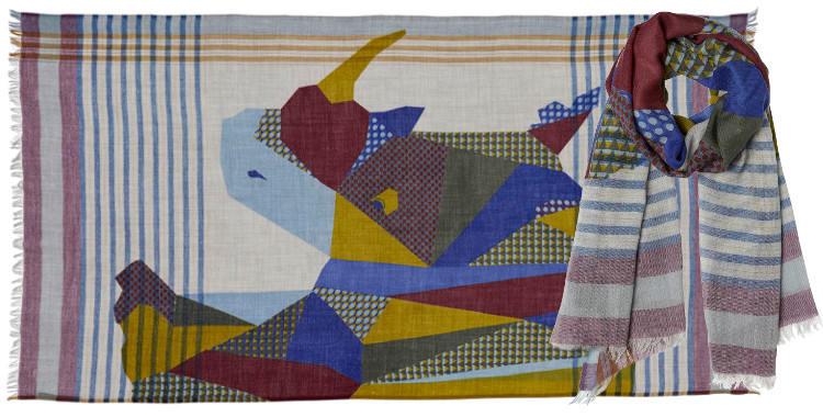 foulard étole écharpe en laine inouitoosh 2018 imprimé grahique le rhinocéros
