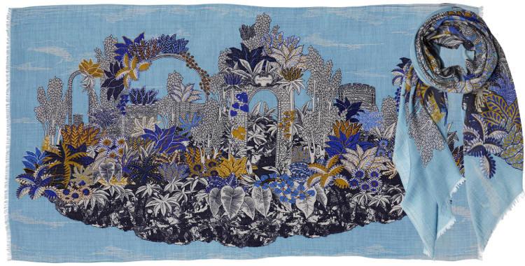 foulard en laine inouitoosh 2018 ruines dans une végétation luxuriante