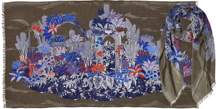 foulard écharpe étole en laine ruines dans les fleurs et les plantes