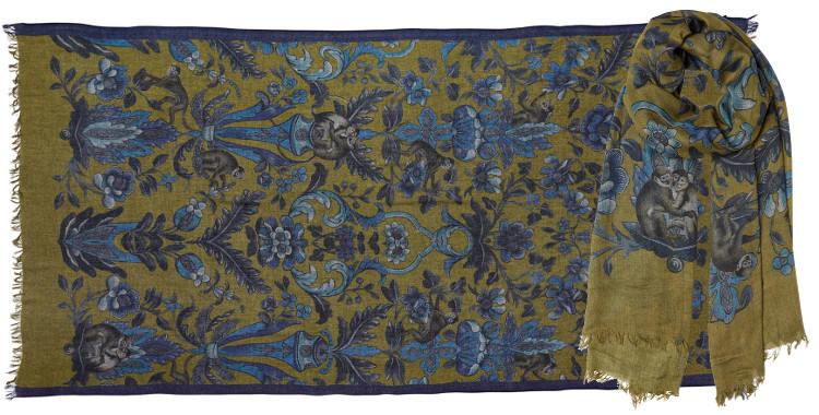 Foulard écharpe étole en laine inouitoosh 2018, fleurs et petits singes