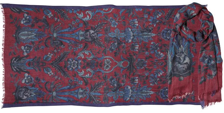 foulard en laine imprimé rouge à motifs floraux et primates