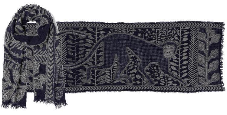 foulard écharpe étole en laine et lurex Inouitoosh 2018, le dieu singe Hanuman
