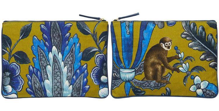 pochette en coton, les singes, Inouitoosh 2018, bleu et jaune