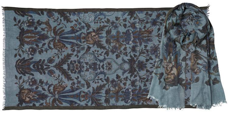 foulards écharpes imprimés en laine aux motifs de petits ouistitis et floraux