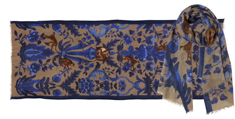 Foulard écharpe étole en laine, motifs des petits singes et des fleurs