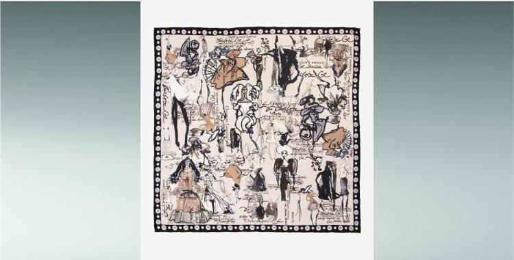 Foulard soie croquis mannequins Christian Lacroix automne hiver 2018 noir blanc bord roulotté main