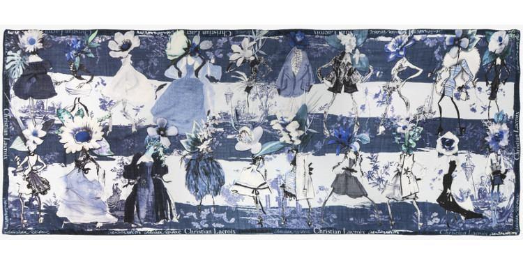 Foulard en laine Christian Lacroix automne hiver 2018 filles fleurs bleu