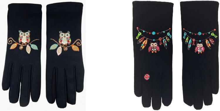 Ces gants peints à la main en France sont décorés de chouettes et de bracelets chouettes