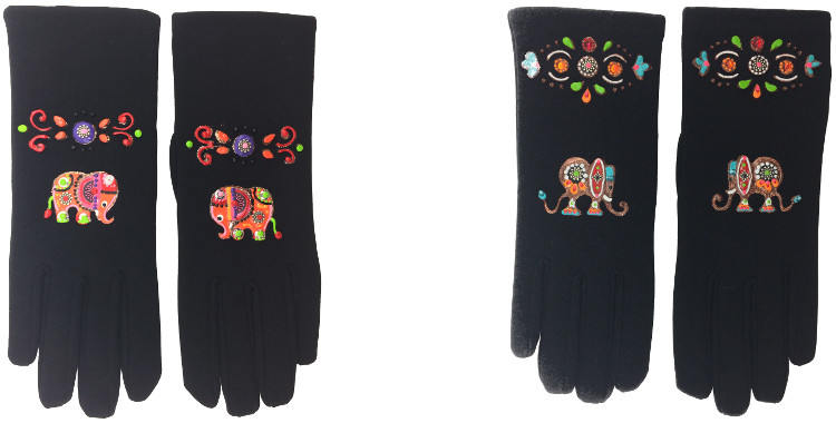 Des éléphants oranges ou multicolores décorent ces gants peints à la main en France