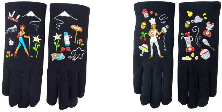 Les promenades à la montagne et la patisserie sont les deux passe temps illustrés sur ces gants peints à la main en France