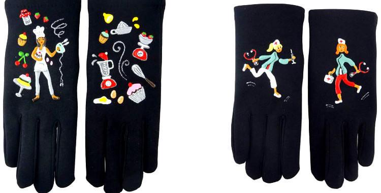 La pâtissière et les infirmière, ce sont les métiers, les professions qui sont peints à la main sur ces gants fantaisie
