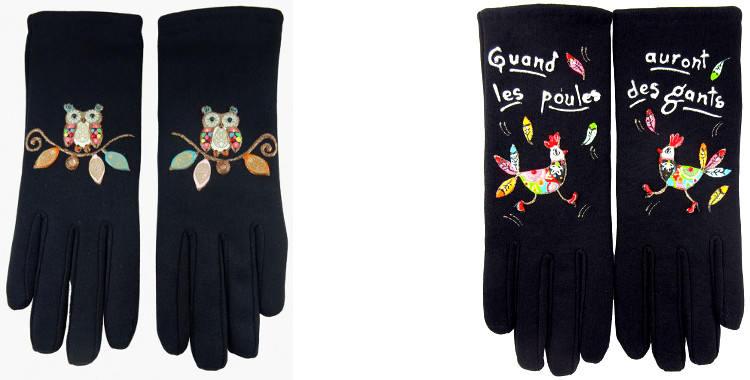 Les oiseaux, les chouettes et les poules sont peints à la main sur les gants fantaisie en France
