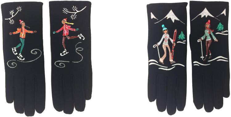 Le Patinage artistique, le ski et la randonnée en montagne sont les thémes qui illustrent les gants fantaisie peints à la main en France