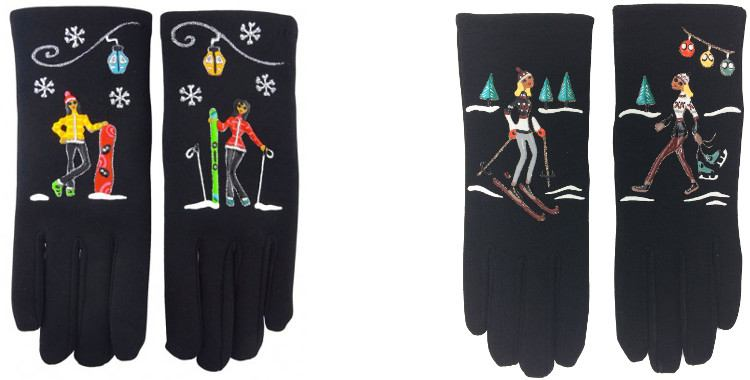 Les sports d'hiver, le surf, le ski, les patins sont peints à la main sur les gants fantaisie