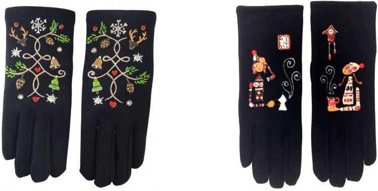 La pause café ou l'heure du thé et Noël sur les gants peints à la main en France