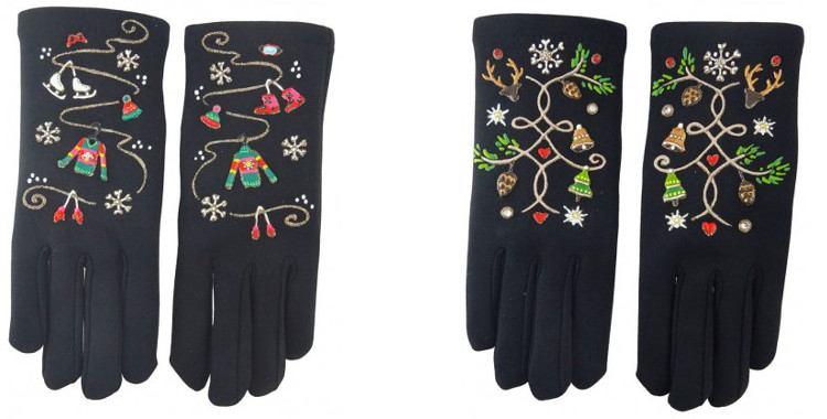 Les Vacances d'hiver et Noël, gants fantaisie peints à la main en France