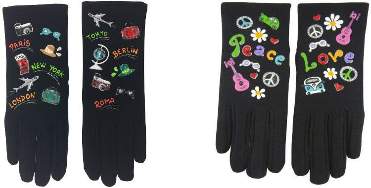 Les Voyages à travers le monde en avion ou façon hippies, gants tissu peints à la main en France