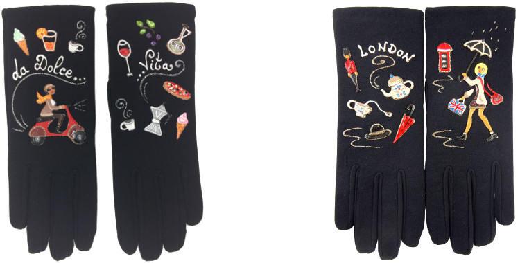 Gants fantaisie, peints à la main, en taille unique,, en tissu polyamide, made in France, Rome, la dolce vita et Londres