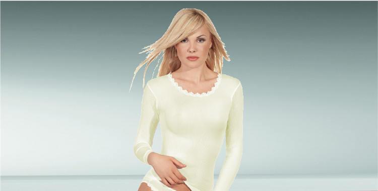 Sous-vêtement transparent, manches longues, décolleté dentelle rond, en soie, plissé côtelé